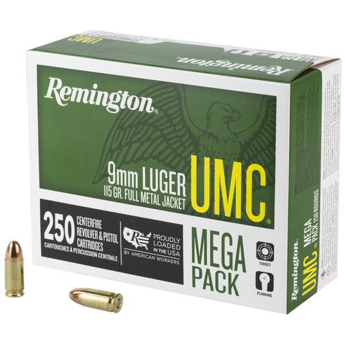 Remington UMC 9mm Luger Ammunition 115 Grain FMJ 1145fps 250 Rounds