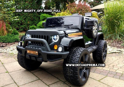 JEEP Mighty off-road Full dvosed na akumulator 12V sa daljinskim upravljanjem za decu Crni