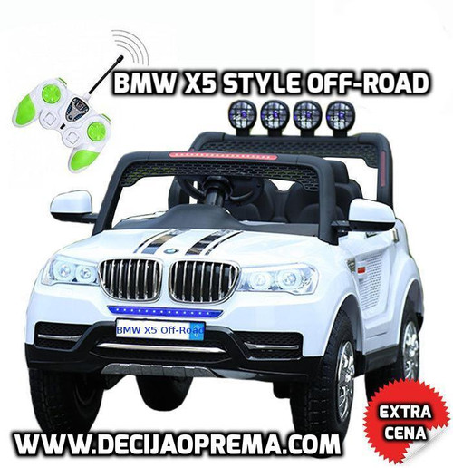 BMW X5 Style Off-Road Dvosed auto na akumulator Beli