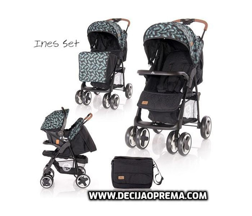 Kolica Ines Set Lorelli Bertoni Black Leaves