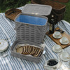 Peterboro Twice-as-Good 1930s Reproduction Picnic Basket in Driftwood and Blue