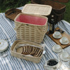 Peterboro Twice-as-Good 1930s Reproduction Picnic Basket in Natural and Red