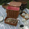Peterboro Twice-as-Good 1930s Reproduction Picnic Basket in Cherry and Red