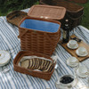 Peterboro Twice-as-Good 1930s Reproduction Picnic Basket in Cherry and Blue
