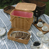 Peterboro Twice-as-Good 1930s Reproduction Picnic Basket in Honey and Red