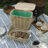 Peterboro Twice-as-Good 1930s Reproduction Picnic Basket in Natural and Green