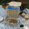 Peterboro Twice-as-Good 1930s Reproduction Picnic Basket in Natural and Blue