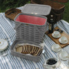 Peterboro Twice-as-Good 1930s Reproduction Picnic Basket in Driftwood and Red