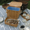 Peterboro Twice-as-Good 1930s Reproduction Picnic Basket in Honey and Blue