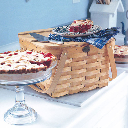 Peterboro Country Slatted Two-Pie Basket with Tray