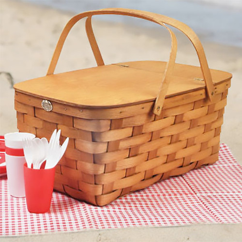 Peterboro Extra Large Picnic Basket with Hinged Lid