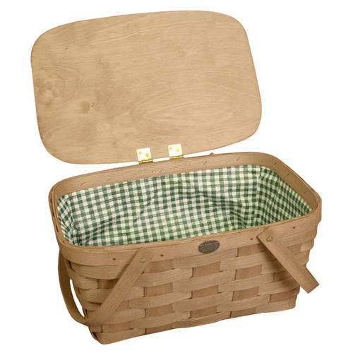 Peterboro Deluxe Picnic Basket with Mint Green & White Wipe Out Liner