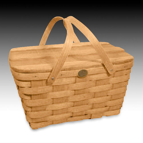 Peterboro Country Slatted-Lid Picnic Basket with Swing Handles