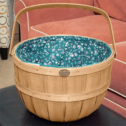 Peterboro Oxford Basket with Green Floral Quilted Fabric Liner