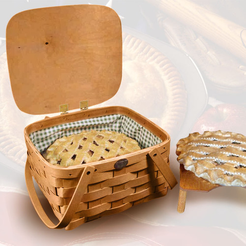 """Peterboro Pie/Cake Carrier with Mint Green """"Wipeout"""" Liner"""