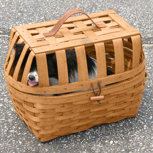 Peterboro Pet Carrier Basket with Leather Handle & Post Piece