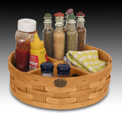 Peterboro Lazy Susan Basket with Wood Dividers and Protectors