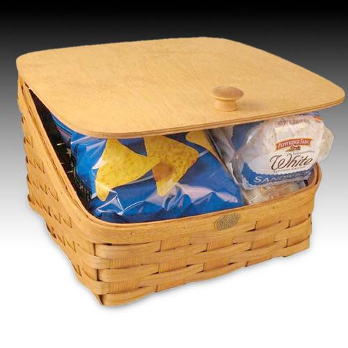 Peterboro Bread Storage Basket with Solid Hinged Lid