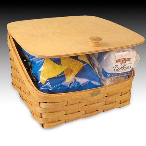 Peterboro Bread Storage Basket with Solid Hinged Lid