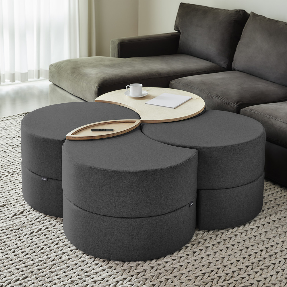 Affix Quad Storage Ottoman in charcoal