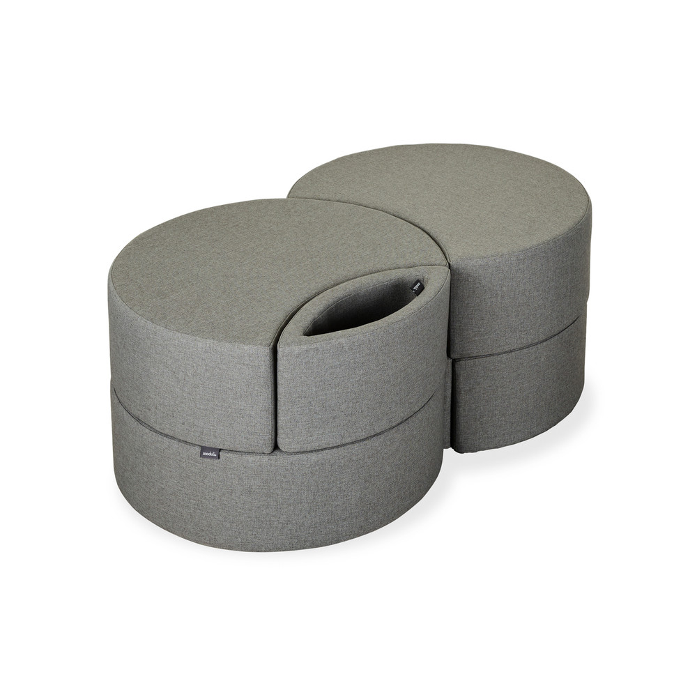 Affix Double Storage Ottoman in woolen