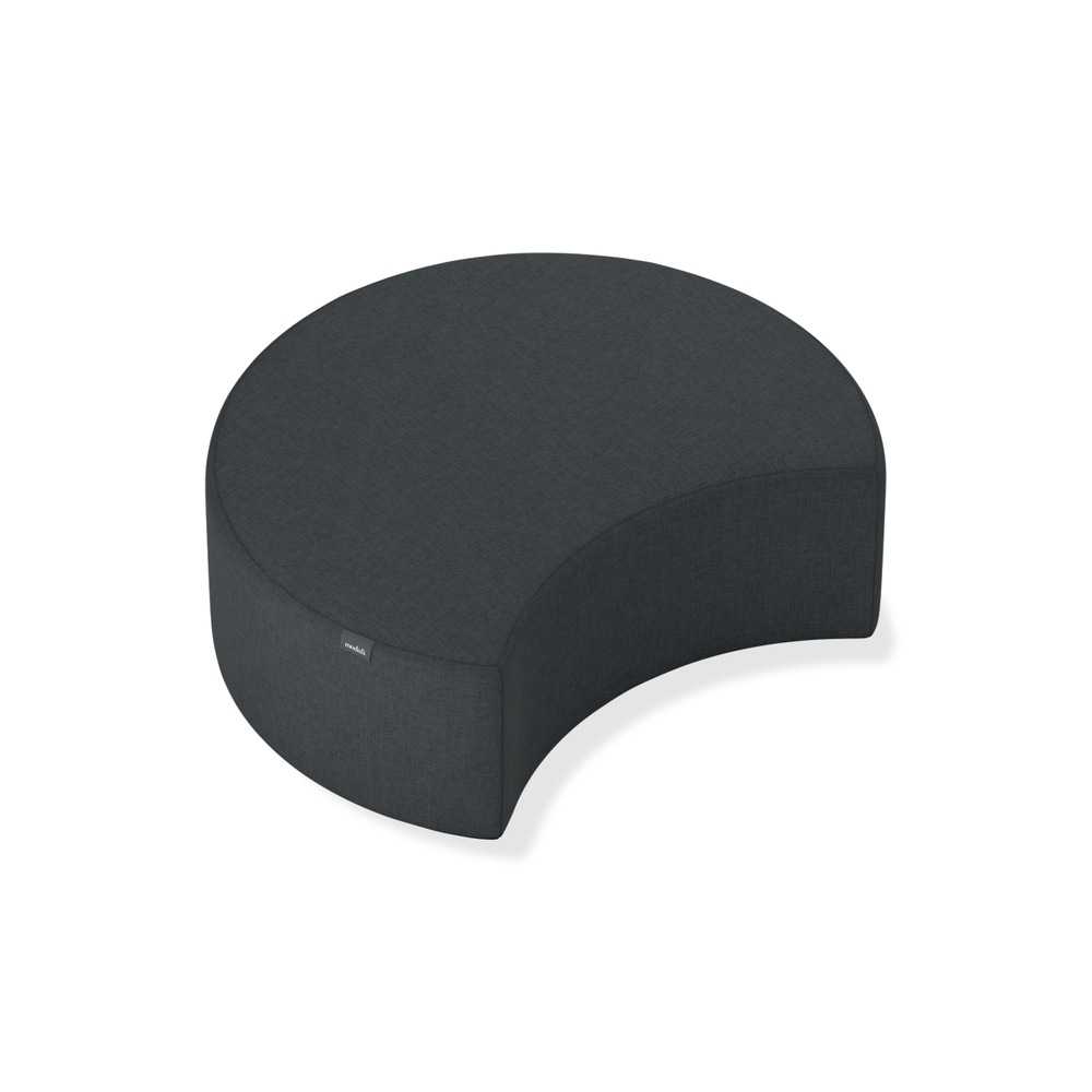 Affix half ottoman in charcoal