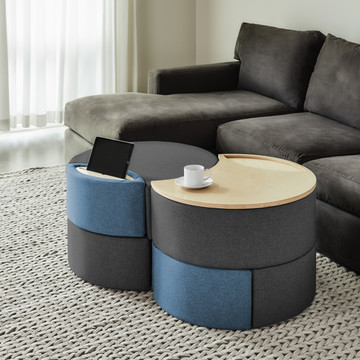 Affix Double Storage Ottoman in charcoal