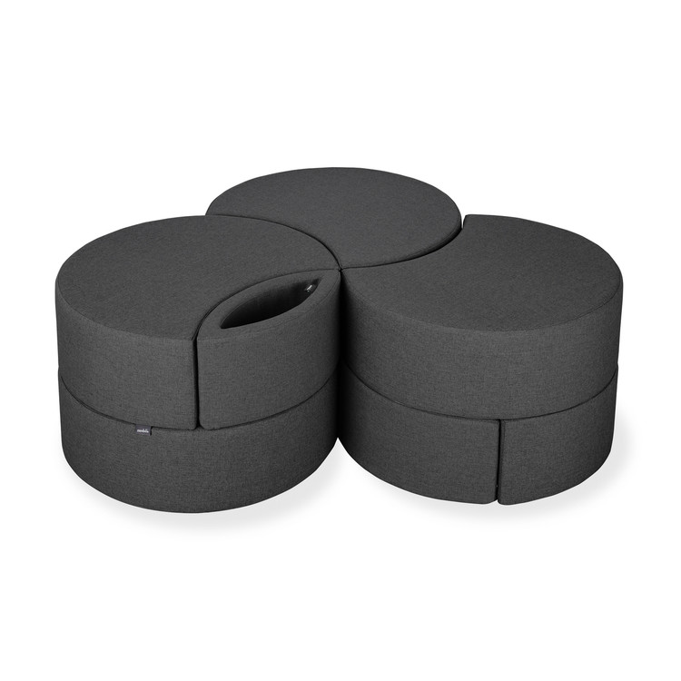 Affix Triple Storage Ottoman in charcoal