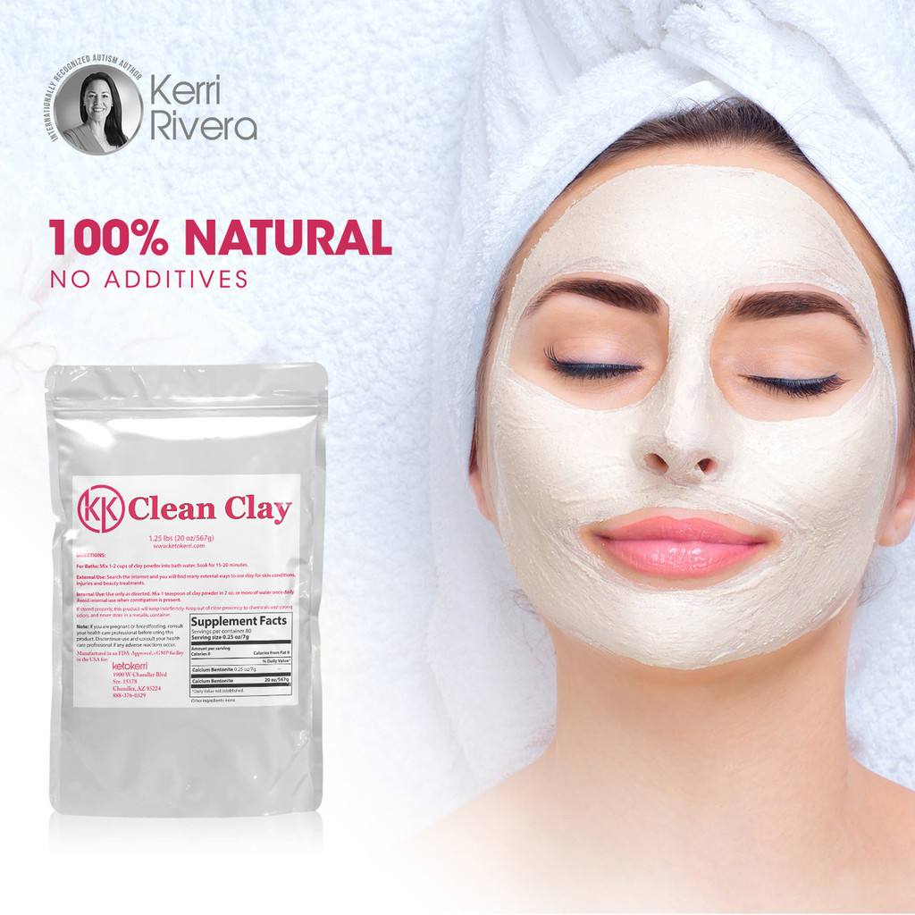 The picture shown describes that externally the 100% natural clay can be applied to skin for beauty treatments, skin conditions and skin injuries.