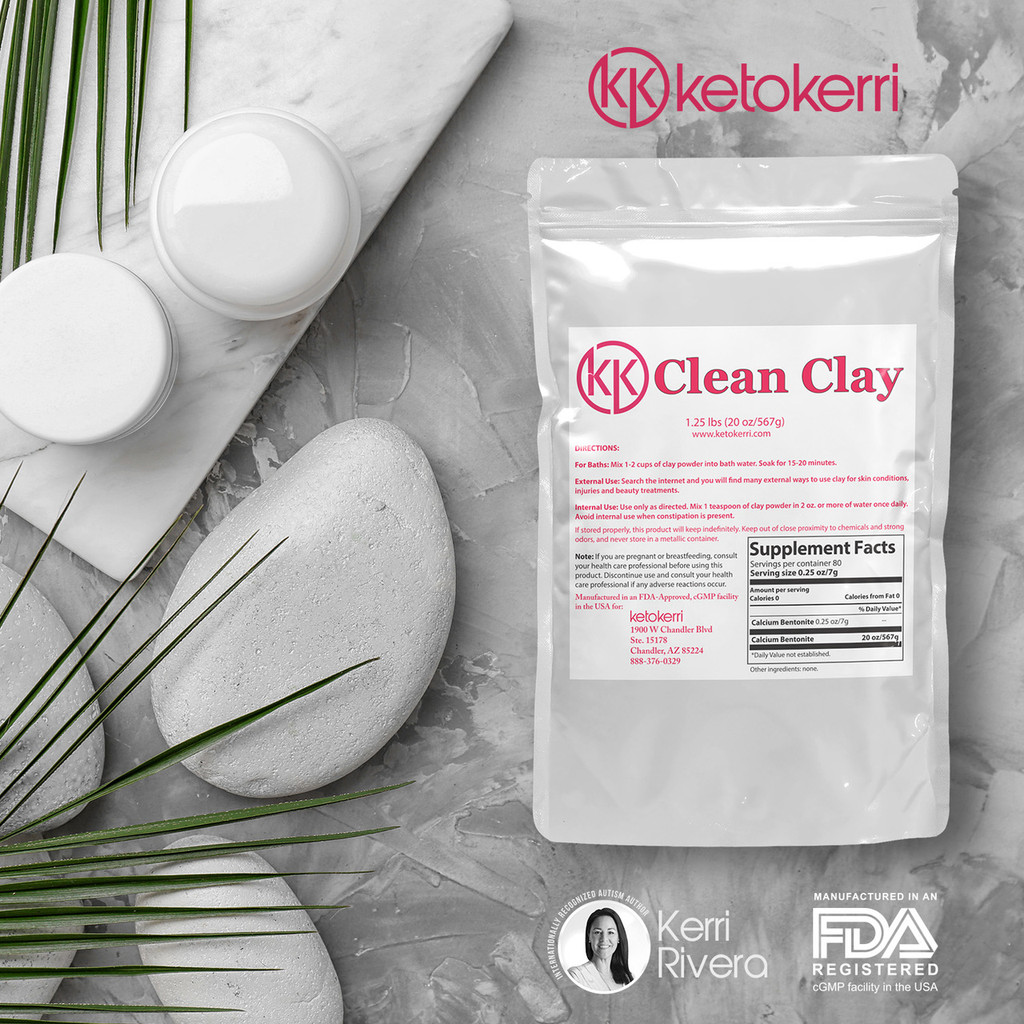 Keto Kerri Clean Clay helps support detoxification, healthy digestion, respiratory health, thyroid function, and promotes weight loss.