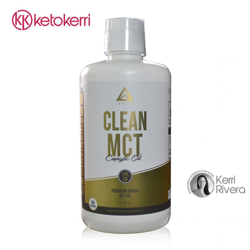 This picture displays the front of the bottle of Clean MCT Pure C8 Oil.