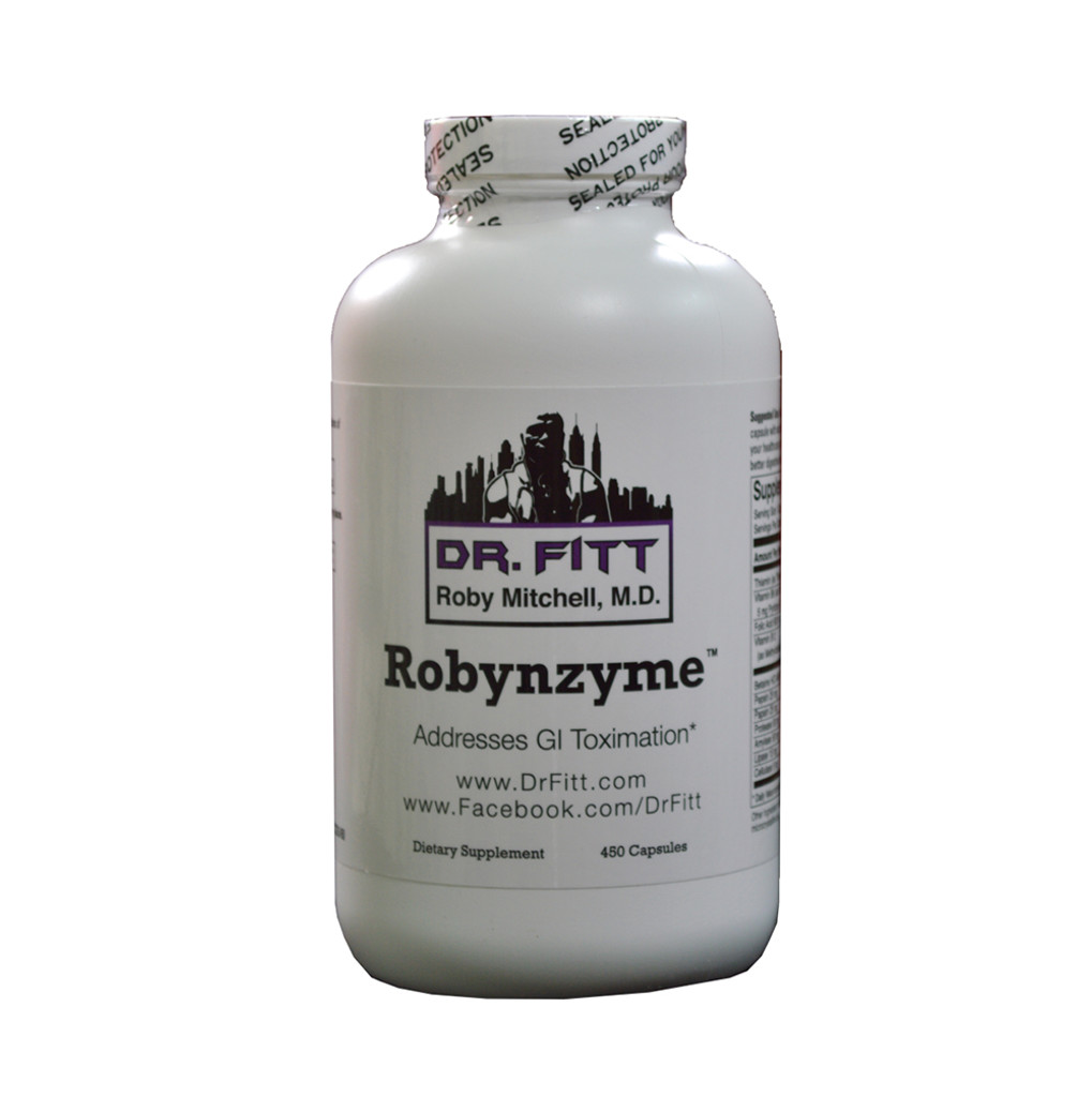 This is a front view of Dr. Fitt Robynzyme with 450 Capsules.
