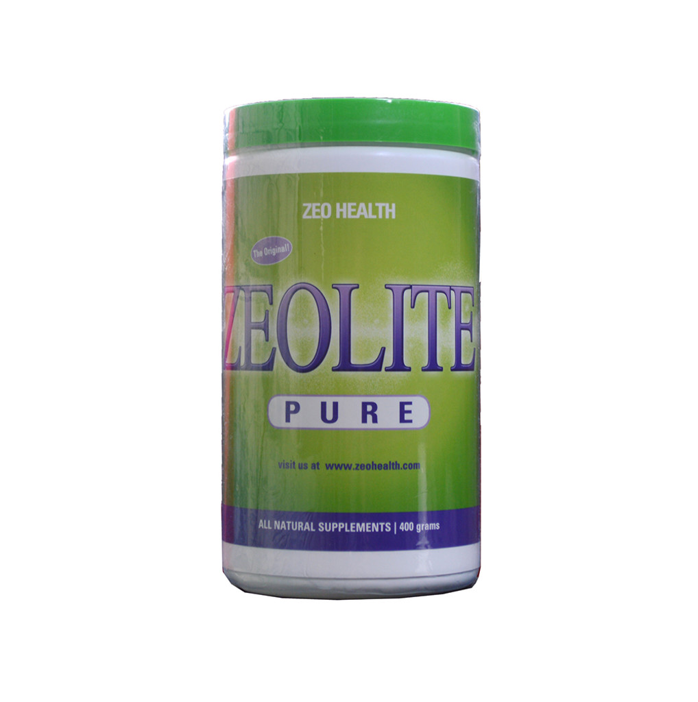 This is an image of the front bottle of Zeolite Pure (400 grams).