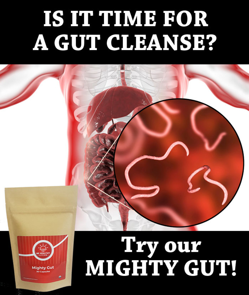 Is it time for a gut cleanse?  Try our Mighty Gut to help eliminate parasites, bad bacteria, fungus, and candida.  Picture of blow of stomachs inside infested with parasites.