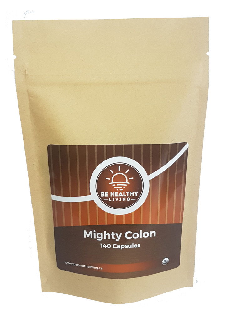 This is a picture of our Mighty Colon in a kraft bag, which contains 140 vegetarian capsules.  This product works like a mild laxative, eliminating waste and build-up in the colon.