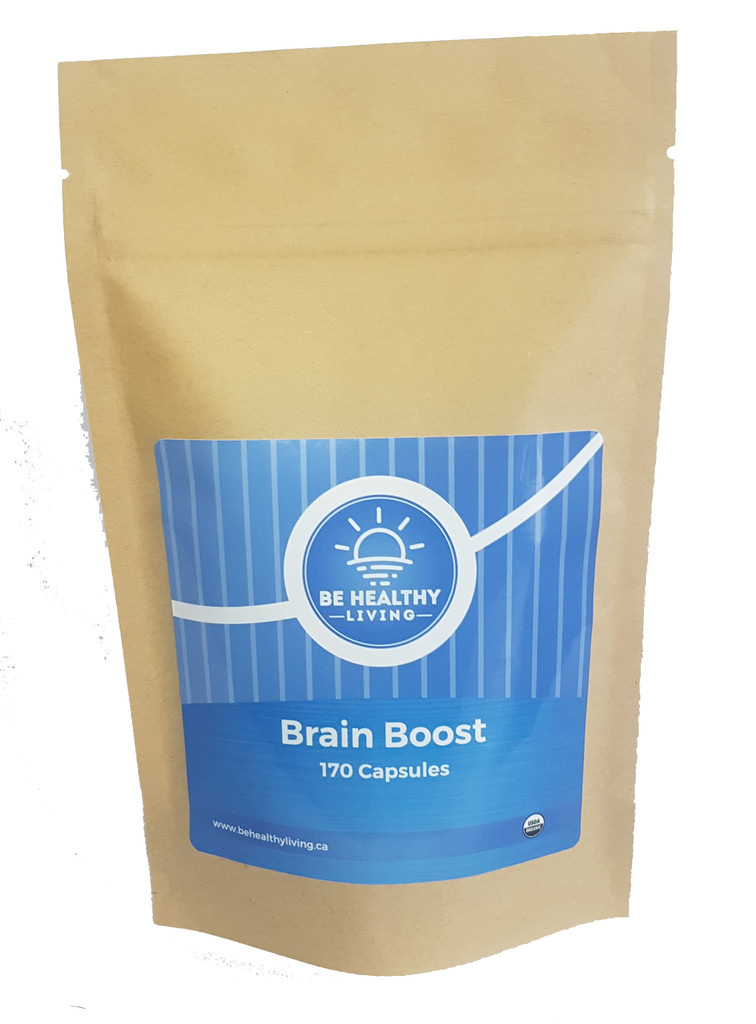 This picture describes the front view of our Brain Boost, which contains 170 vegetable capsules and is made from wildcrafted herbs.  Our product promotes a healthy brain and helps with stress, mood and energy levels. Also improves Concentration, Improves Memory & focus.