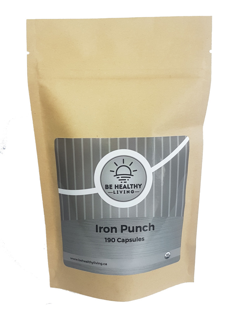 This is a picture of our Iron Punch in a kraft bag, which contains 190 vegetarian capsules. Our Iron Punch provides oxygen to the brain, while giving the body a boost of energy.