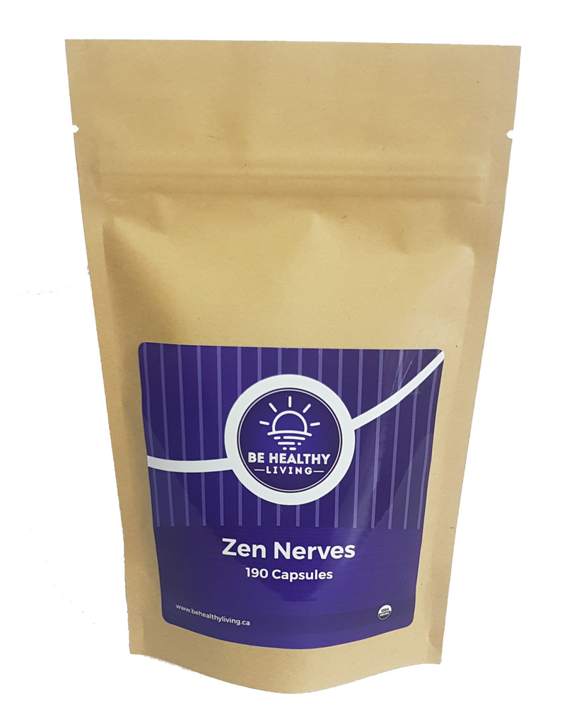 This is a picture of our Zen Nerves in a kraft bag, which contains 190 vegetarian capsules.  This product helps with better mood, relaxation, stress and sleep.
