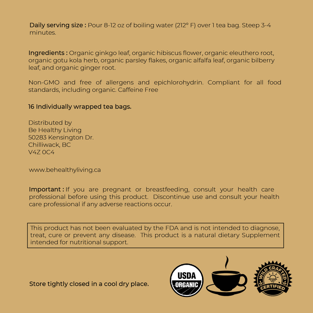 This picture shows the back label of our Memory Boost Tea, describing the ingredients and suggested use.  The tea bags have a blend of  Organic Gingko Leaf, Organic Hibiscus Flower, Organic Eleuthero Root, Organic Gotu Kola herb, Organic Parsley Flakes, Organic Alfalfa Leaf, Organic Bilberry Leaf, Organic Ginger Root.