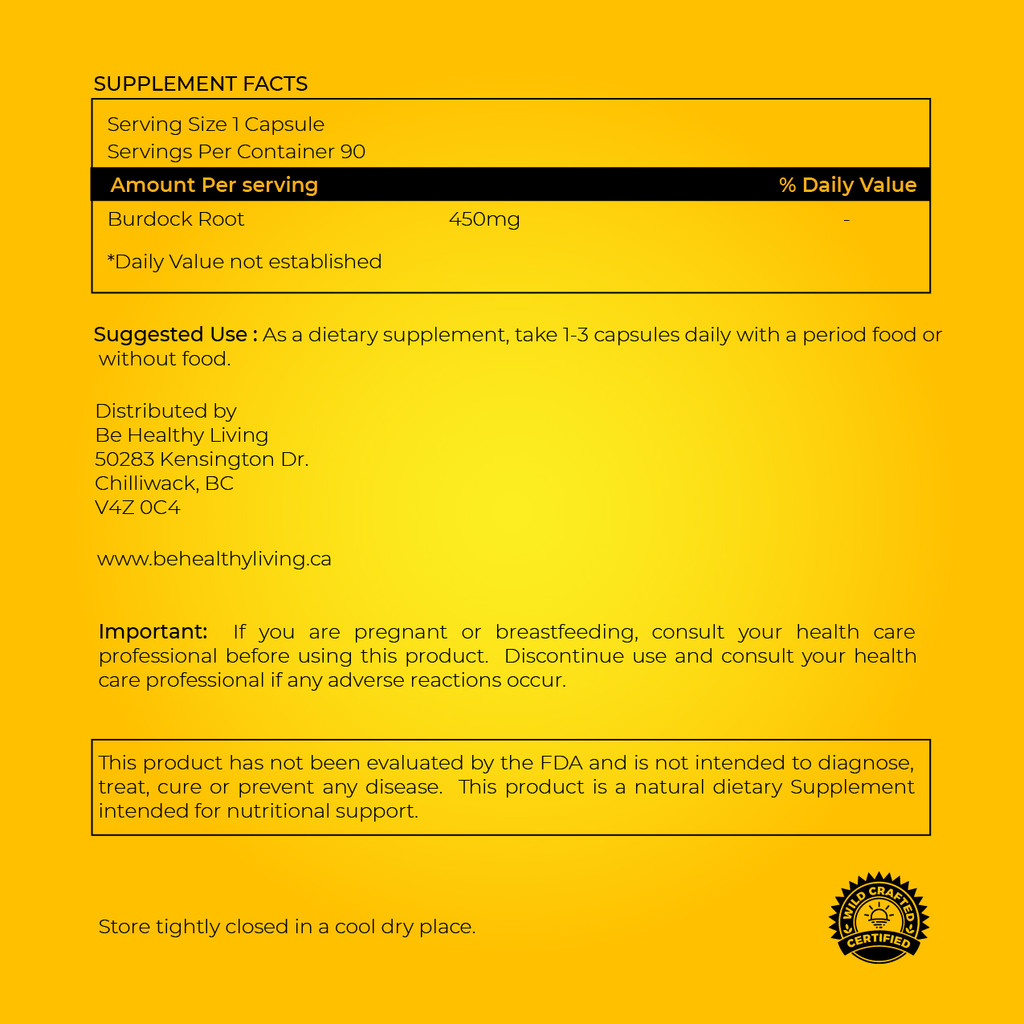 This picture shows the back of the label showing the suggested use and ingredients, containing only pure Burdock Root.