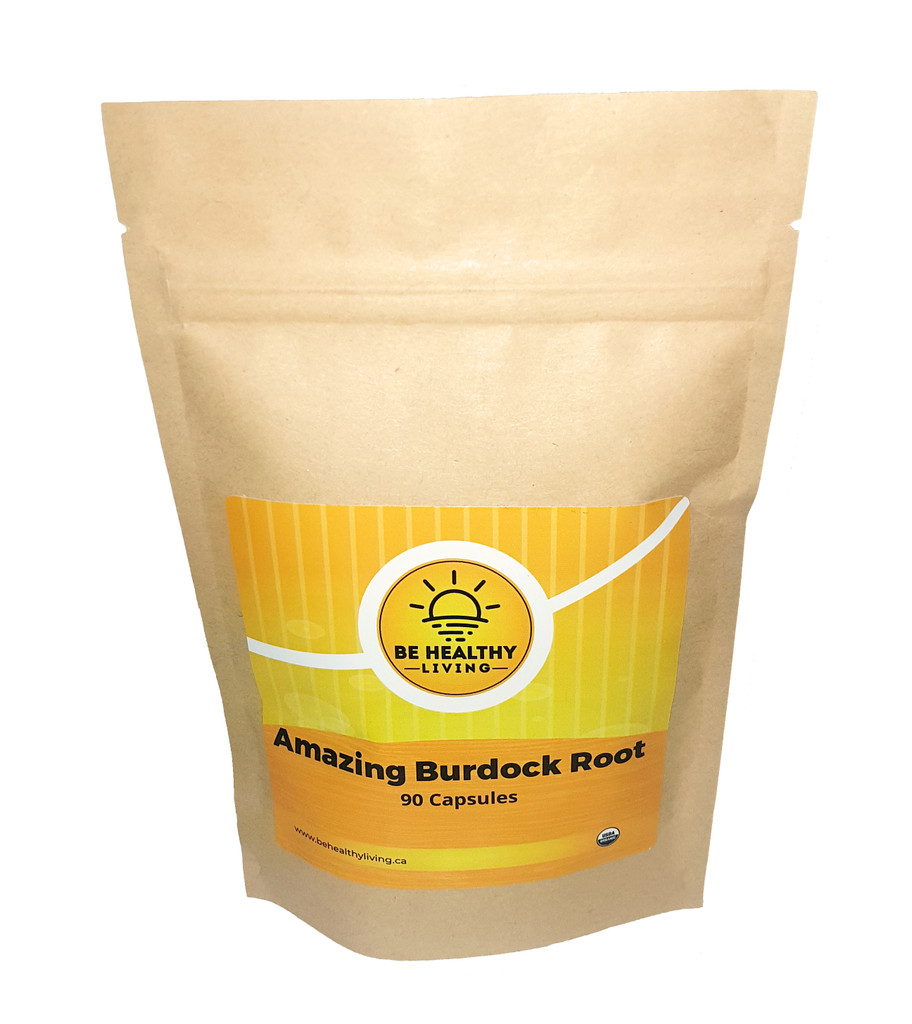 This picture describes Amazing Burdock Root packaged in a enviro friendly Kraft bag, containing 90 vegetable capsules made from organic, wildcrafted herbs.