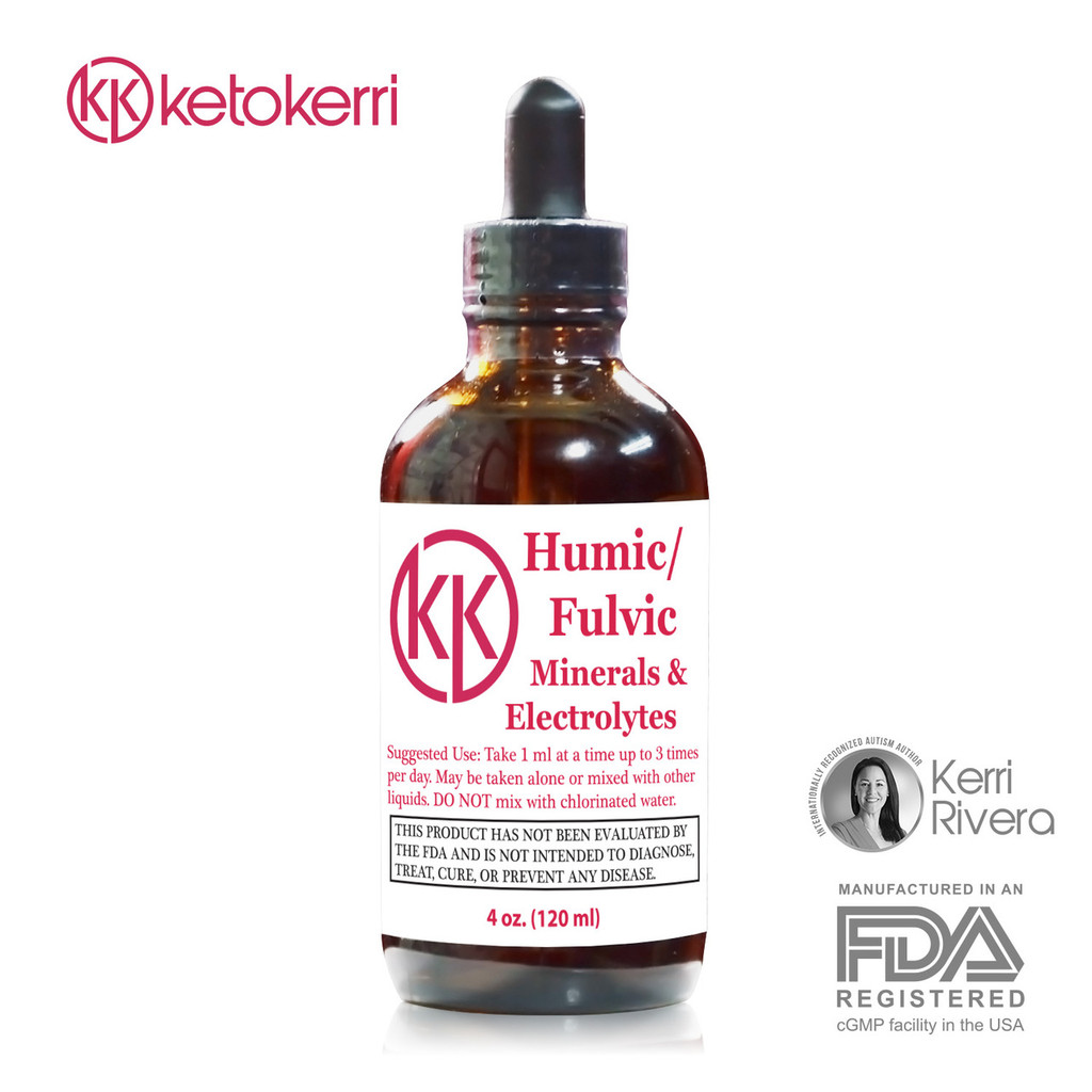 Picture shows front view of a bottle of Keto Kerri Humic Fulvic.