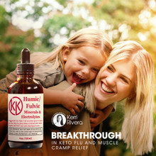 Picture shows daughter on mothers back in picture laughing.  Humic/Fulvic is a breakthrough in fighting bacterial flus and muscle cramps.