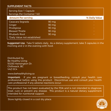 This picture shows the back label of our Mighty Gut, describing the ingredients and suggested use.  The herbs are blend of  Cascara Sagrada, Ginger, Rhubarb Root, Prodigiosa and Blessed Thistle.