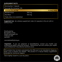 This picture shows the back label of our Supreme Sea Moss and Bladderwrack Blend, describing the ingredients and suggested use.  The herbs are blend of Sea Moss and Bladderwrack.