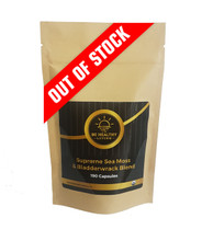 """This is a picture of our Supreme Sea Moss and Bladderwrack Blend in a kraft bag, which contains 190 vegetarian capsules.  This product  is the """"KING"""" of all herbs.  Also supports the Immune response and mood.  Provides a healthy brain, bones, lungs, thyroid and energy levels.   Each bag contains 190 vegetable capsules and is made from wildcrafted herbs."""