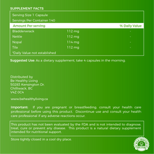 This picture shows the back label of our Chlorophyll Power, describing the ingredients and suggested use.  The herbs are blend of  Bladderwrack, Nettle, Tila and Nopal.