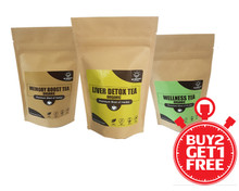This picture is our Buy 2 and Get 1 Free Tea combos.  This combo includes 3 teas - Liver Detox Tea, Memory Boost Tea and Wellness Tea.  Sale for Black Friday and Christmas holidays.