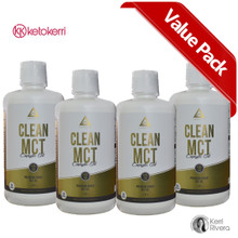 This picture displays 4 bottle value pack for Clean MCT Pure C8 Oil.