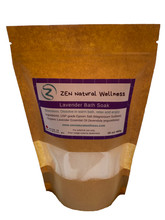 This is a picture of a 450g bag of Lavender Salt Bath Soak , great for relaxation and stress release.